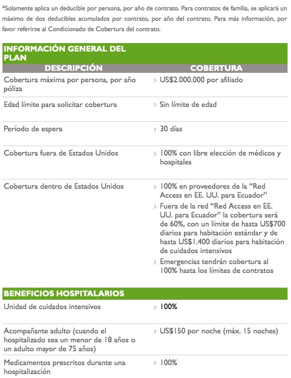 VUMI Plan Access Alis broker de seguros ecuador